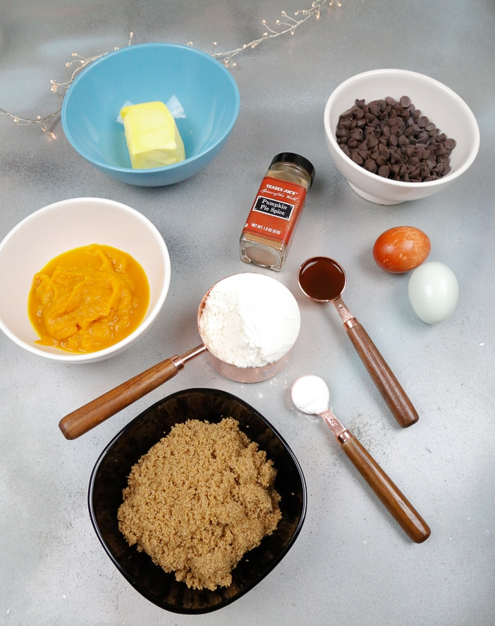 butter pumpkin pie spice pumpkin puree flour salt baking powder chocolate chips brown sugar