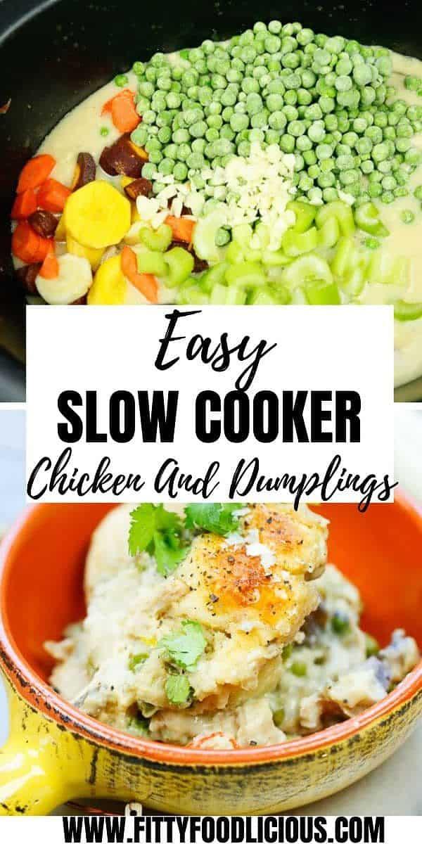 chicken and dumplings, chicken, homemade, one pot, slow cooker, biscuits