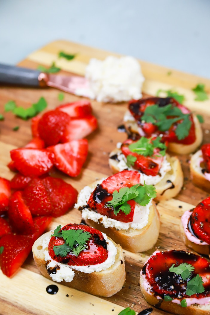 Strawberry, Feta, cream cheese, crostini, appetizer, mother's day, holiday, summer, cilantro, strawberries, bread