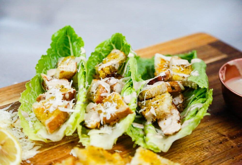 Chicken, Caesar Salad, Chicken Caesar Salad, Croutons, Homemade Croutons, EVOO, Parmesan Cheese, Lemons, Romaine Lettuce, Briannes Dressing, Caesar Dressing