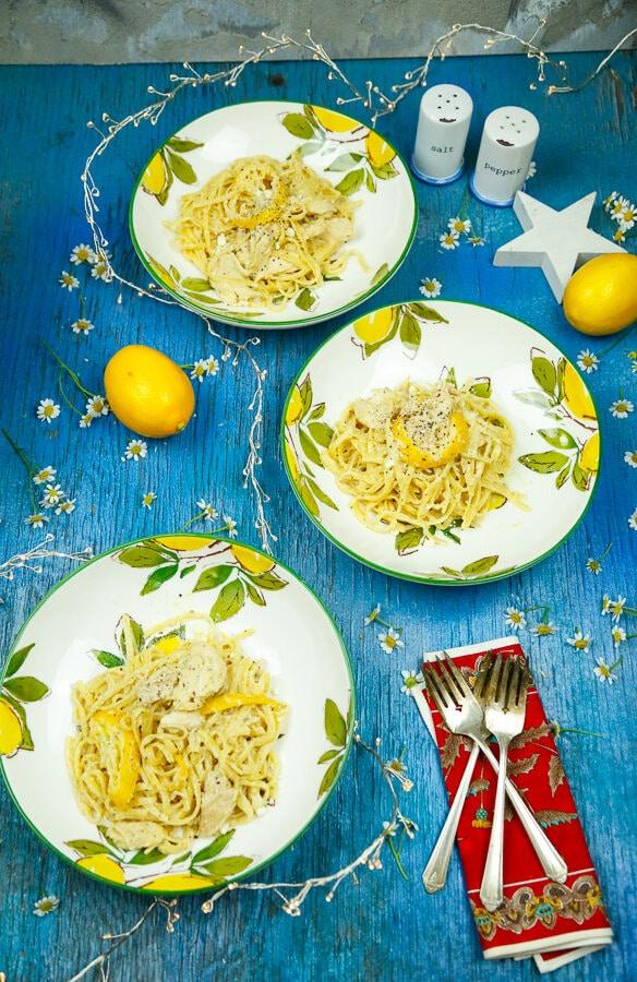 Creamy, Lemon, Chicken, Pasta, One-Pot, Easy Dinner