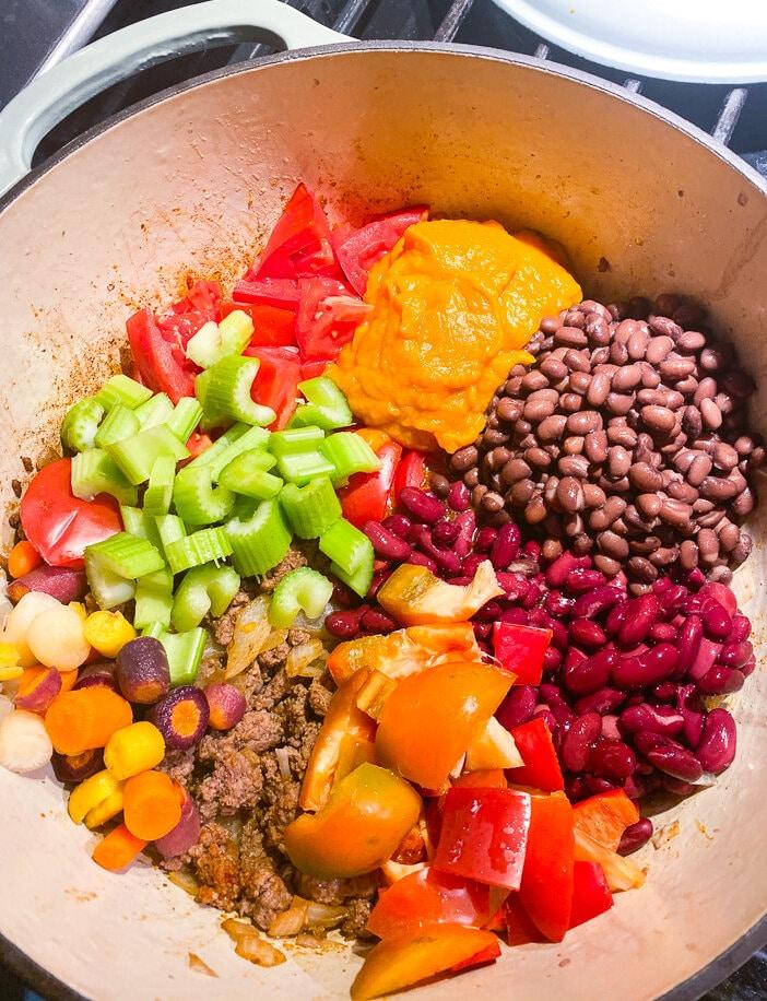 Thirty minute, Pumpkin, Pumpkin Chili, Pumpkin puree, Dutch oven, Hearty, chili, ground beef, veggies
