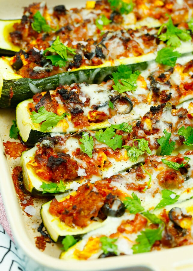 easy stuffed zucchini boats, zucchini boats, low carb meal, healthy, vegetable, fall recipes, Autumn, Easy dinners