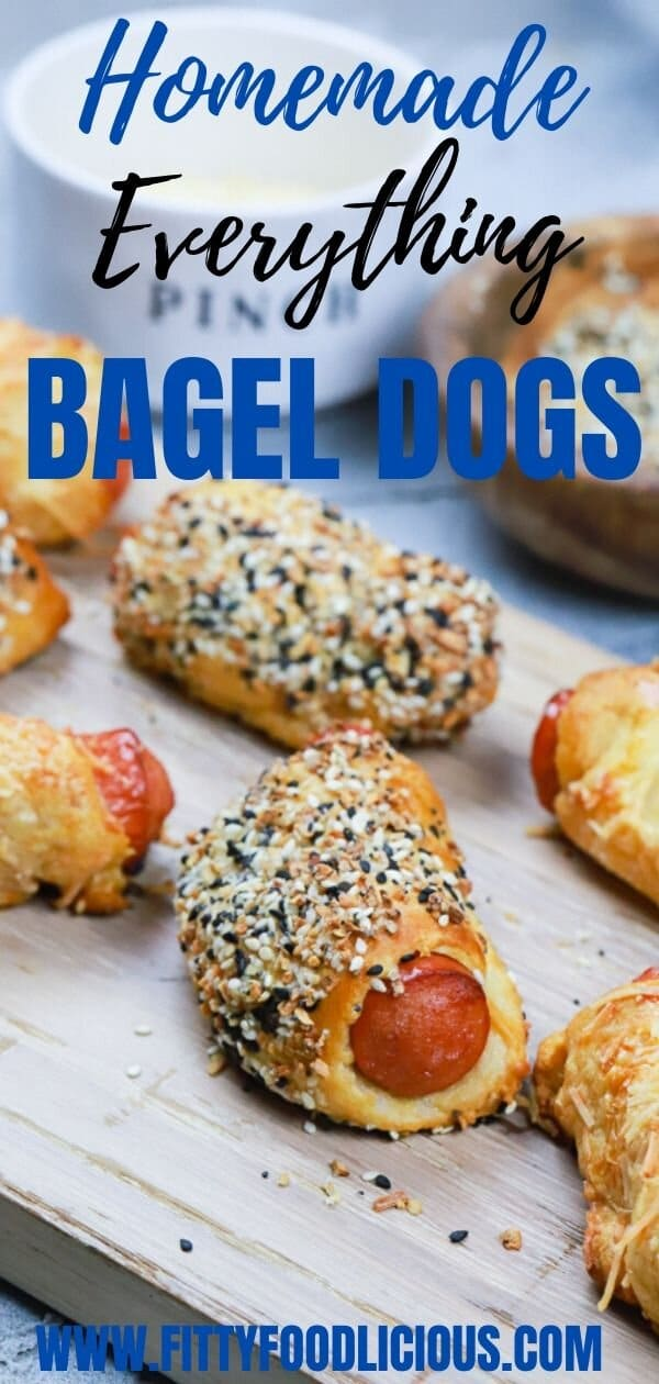 Homemade Everything Bagel Dogs, homemade, bagel dogs, everything bagel seasoning, pastry pups, pigs in a blanket, hotdogs, appetizer, summer appetizers, homemade bagel dogs, everything bagel dogs, mini bagel dogs, shredded parmesan cheese, nitrate-free hot dogs, mini everything bagel dogs