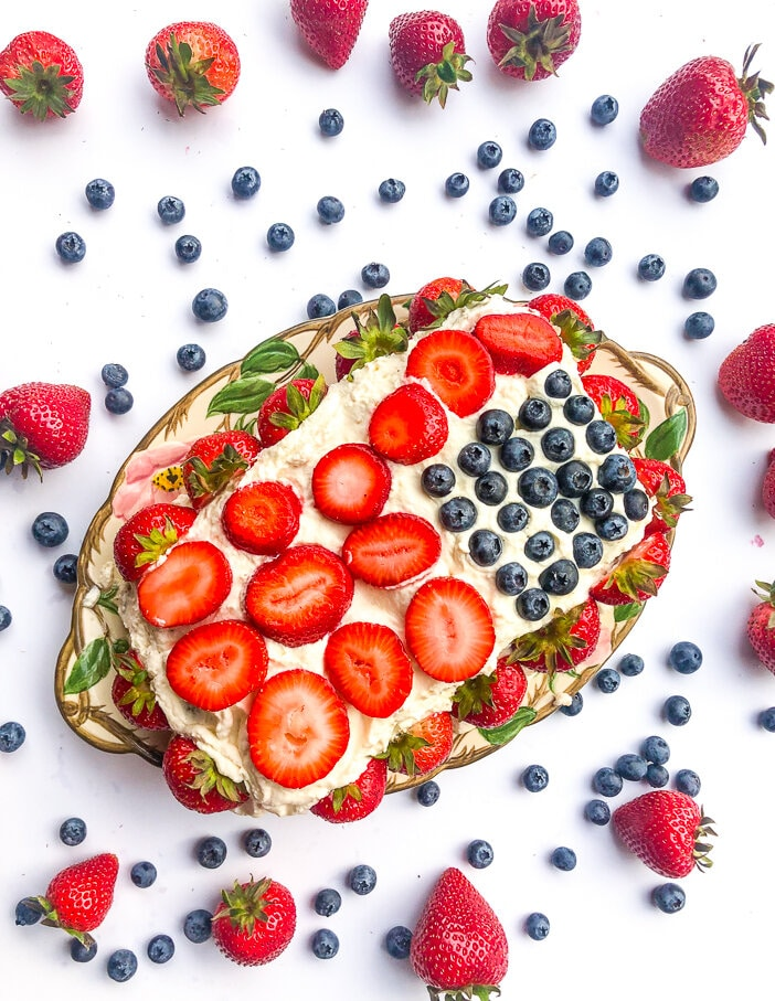 Strawberry shortcake, flag cake, blueberry shortcake, sugar free, coconut sugar, berry flag cake, berry flag shortcake, strawberry cake, healthy dessert, Memorial Day, Fourth of July