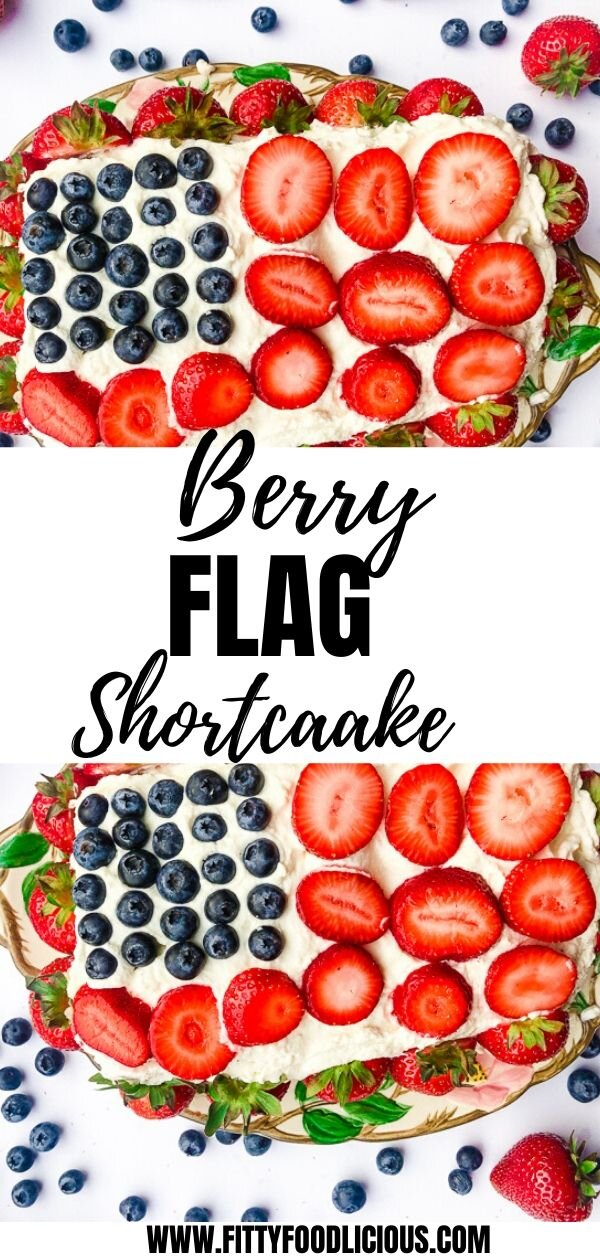 Strawberry shortcake, flag cake, blueberry shortcake, sugar free, coconut sugar, berry flag cake, berry flag shortcake, strawberry cake, healthy dessert, Memorial Day, Fourth of July