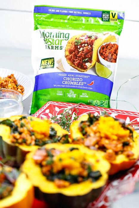 MorningStar Farms, Chorizo Sausage, Vegan, Vegetarian, Acorn Squash, Stuffed Acorn Squash