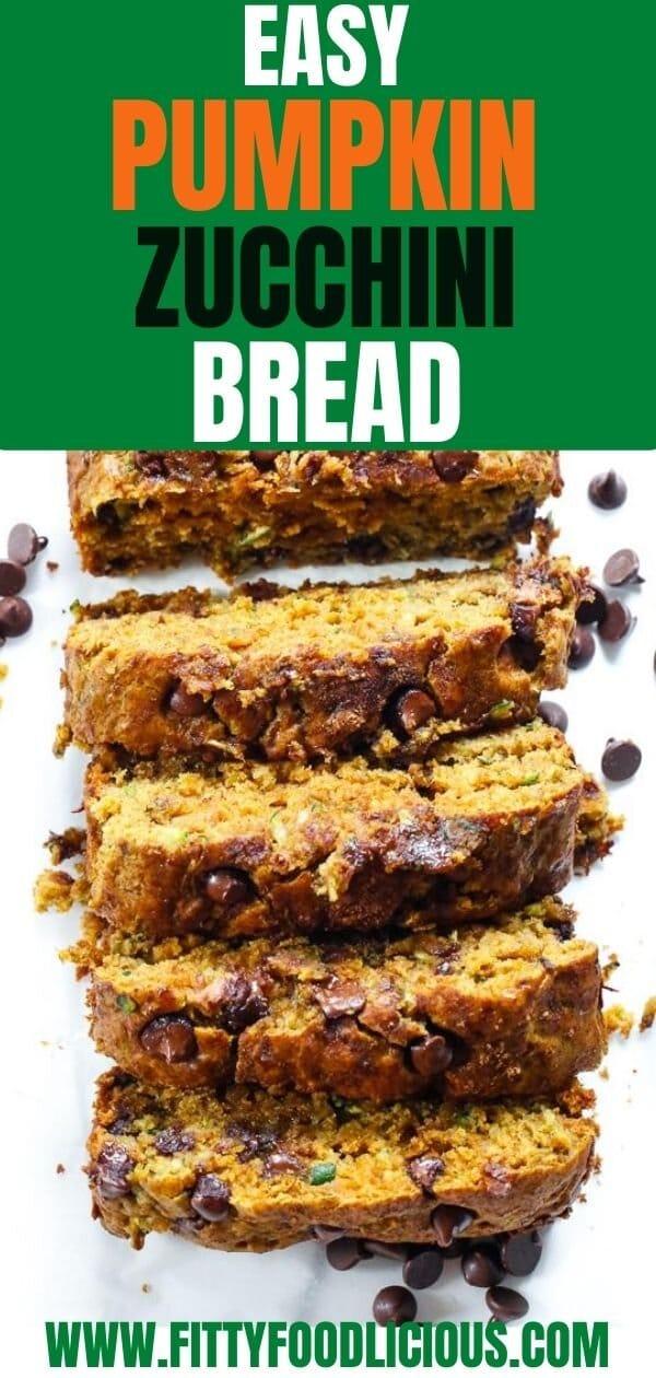 Easy Pumpkin Zucchini Bread, Zucchini Bread, Zucchini, Zucchini recipes, fall recipes, pumpkin, pumpkin recipes, Autumn recipes, dark chocolate, Pumpkin bread, refined sugar-free