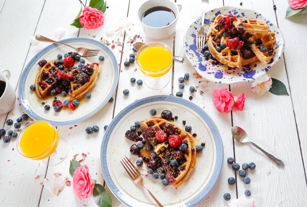 Easy homemade waffles, homemade waffles, waffles, breakfast, easy breakfast recipes, made from scratch, breakfast at home, berries, coffee, orange juice