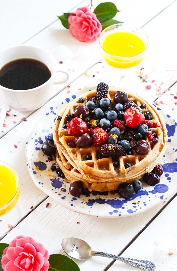 Easy homemade waffles, homemade waffles, waffles, breakfast, easy breakfast recipes, made from scratch, breakfast at home, berries, coffee, orange juice, fluffy waffles, fluffy pancakes, waffle iron