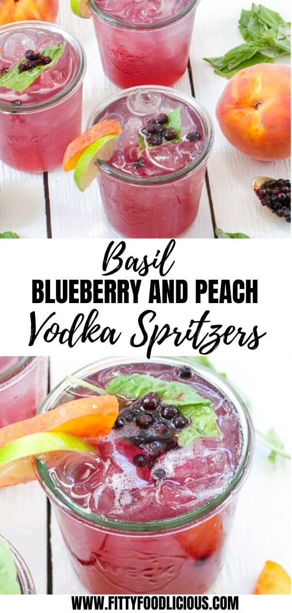 Basil Blueberry Peach Vodka Spritzers