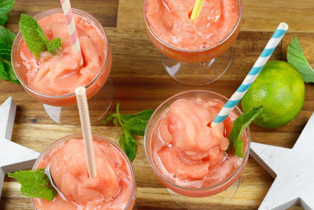 Watermelon Cilantro mint frose, frosé, watermelon, mint, mocktail, summer, Forth of July, best summer cocktails, cocktail, frozen watermelon, summer drinks, recipe, healthy recipe, vegan