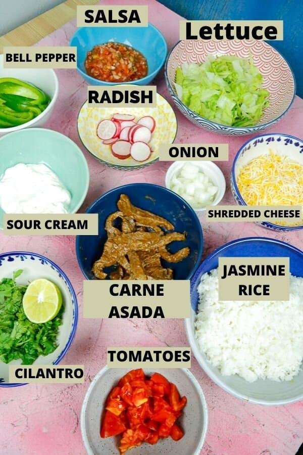 Healthy Burrito Bowls, Burrito Bowls, Chipotle, Mexican Food, Carne Asada, Veggies
