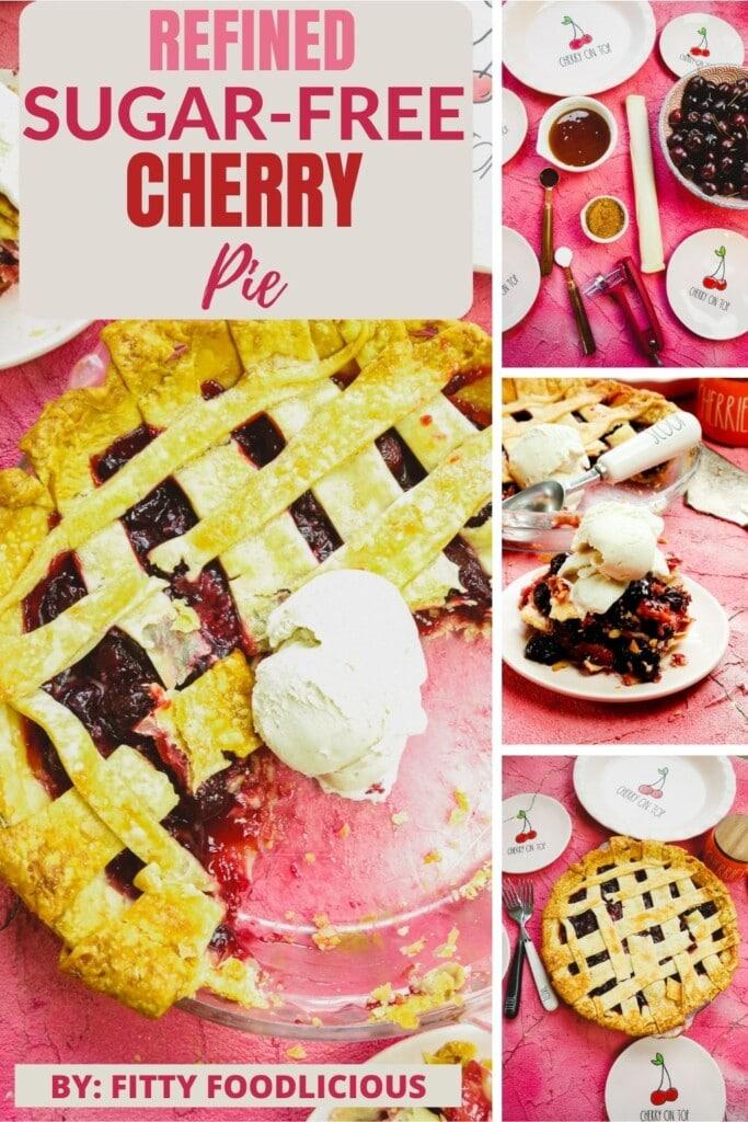 Pinterest image of refined sugar-free cherry pie